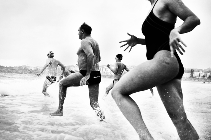 Swimmers at Bondi Beach.